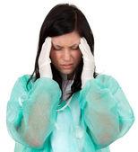 Medische vrouw lijden hoofdpijn — Stockfoto
