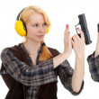 Woman in shooting range — Stock Photo