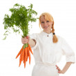 Lady cook with bunch of carrots — Stock Photo