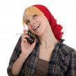 Smoking woman speaks by phone — Stock Photo #4050570