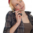 Smoking woman speaks by phone — Stock Photo