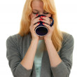 Beautiful woman with cup — Stock Photo