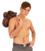 Luvas de boxe de manter homem — Fotografia Stock