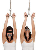 Kidnapped young woman, hostage — Stock Photo