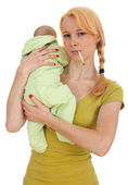 Smoking cigarette mother with little son — Stock Photo