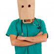 Royalty-Free Stock Photo: Doctor with paper bag on head