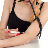 Drug addict girl in action — Stockfoto
