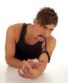 Smoking drug addict man in action — Stock Photo