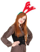 Smiling woman with elks horns — Stock Photo