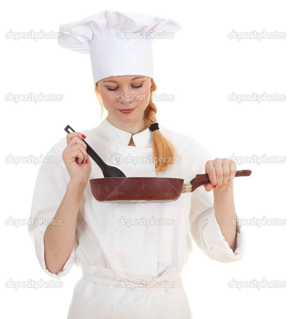 Female cook in white uniform and hat keeping frying pan — Stock Photo #4146554