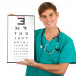 Doctor with optometry chart — Foto de Stock