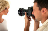 Photographer with mannequin — Stock Photo