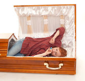 Woman and coffin — Stock Photo