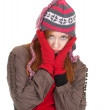 Stock Photo: Girl in winter cap mittens