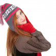 Stock Photo: Girl in winter cap an mittens