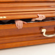 Stock Photo: Coffin, hands