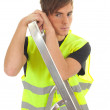 Young man with ladder - Stock Photo