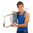 Young man with ladder — Stock Photo