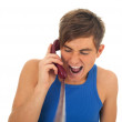 Calling young angry man — Stock Photo