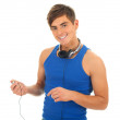 Young man with headphones — 图库照片