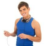 joven con auriculares — Foto de Stock