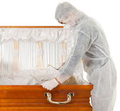 Exhumation - man with coffin — Foto Stock