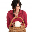 Womwith ostriches egg — Stock Photo #4288862
