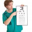 Doctor with optometry chart — Foto Stock