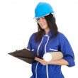 Female architect with blueprints — Stock Photo #4289103