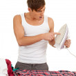 Young man ironing clothes housework - young handsome man ironing clothes, w — Stock Photo