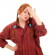 Pigtail woman with pain — Stock Photo