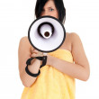 Young woman with megaphone — Stock Photo #4289412