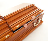 Coffin, hands — Stock Photo