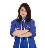 蓝色工作服的年轻女人 — 图库照片