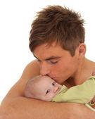 счастливый молодой отец и ребенок, мальчик — Стоковое фото
