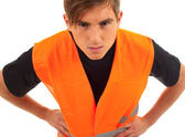 Young man in protective waiscoat — Stock Photo