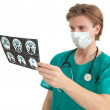 Stock Photo: Male doctor and tomography brain