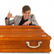 Man with coffin — Stock Photo #4407214