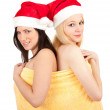 Two Christmas women in yellow towel — Stok fotoğraf