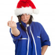 Angry woman in overalls and Santa hat — Stockfoto