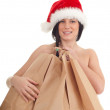 Christmas naked woman covering by bags — Stockfoto