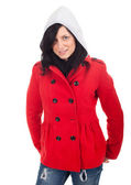 Beautiful woman in red jacket — Stock Photo