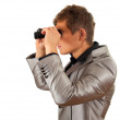 Stock Photo: Spy musing binoculars