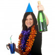 Woman with bottle of champagne — Stock fotografie #4434975