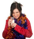 Mujer en pijama y cadenas de navidad — Foto de Stock