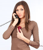 Secretary speaking on the phone — Stock Photo