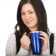 Young woman with big blue cup — Stockfoto