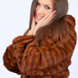 Beautiful woman in a fur coat — Stok fotoğraf