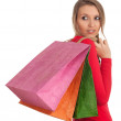 Young woman & coloured shopping bags - Lizenzfreies Foto