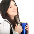 Young woman with big blue cup — Stock Photo
